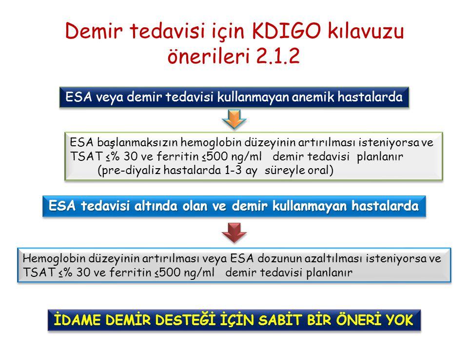 Demir tedavisi için KDIGO kılavuzu önerileri 2.1.2