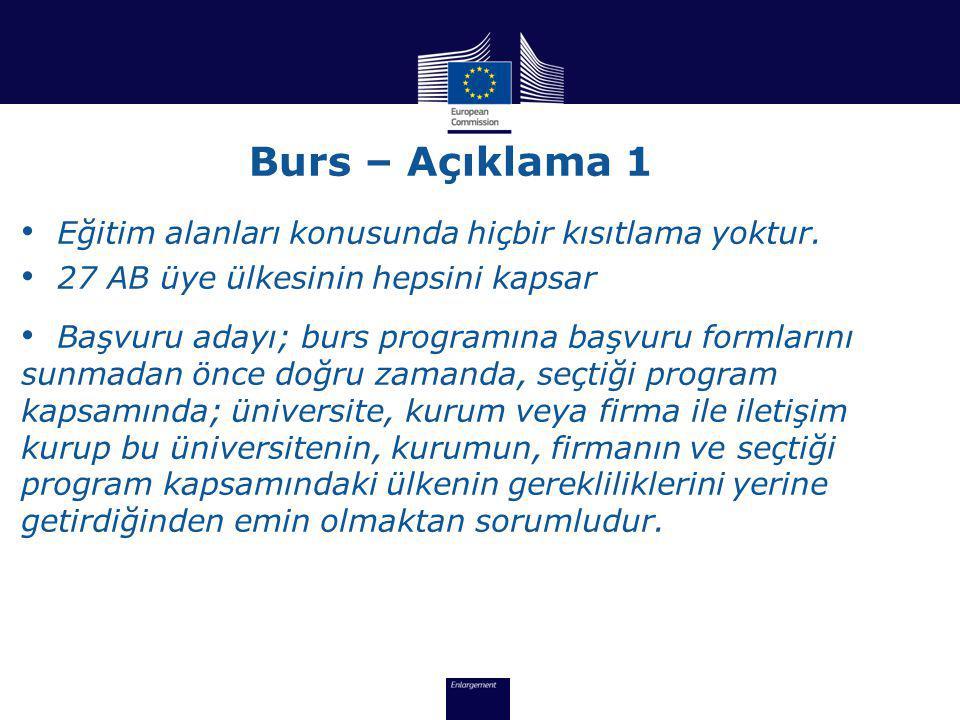 Burs – Açıklama 1 Eğitim alanları konusunda hiçbir kısıtlama yoktur.