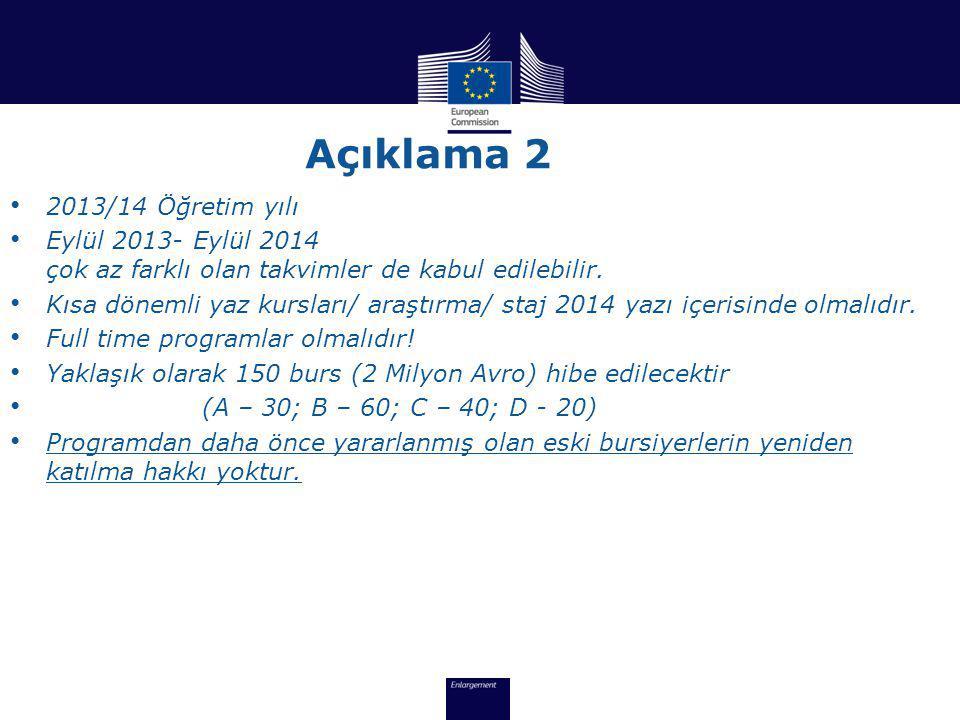 Açıklama 2 2013/14 Öğretim yılı