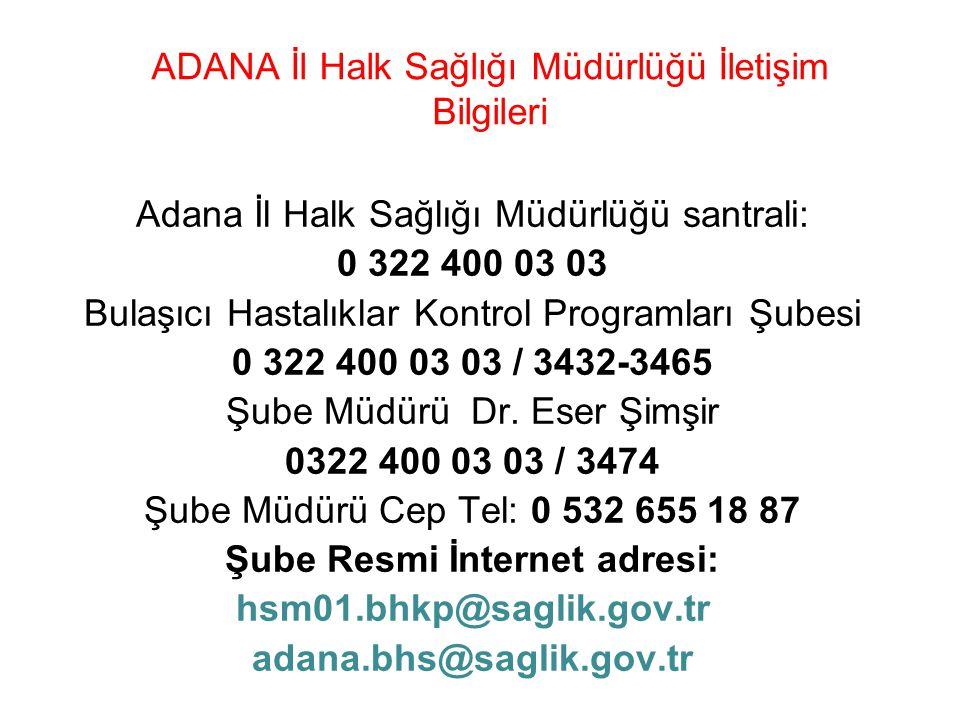 ADANA İl Halk Sağlığı Müdürlüğü İletişim Bilgileri