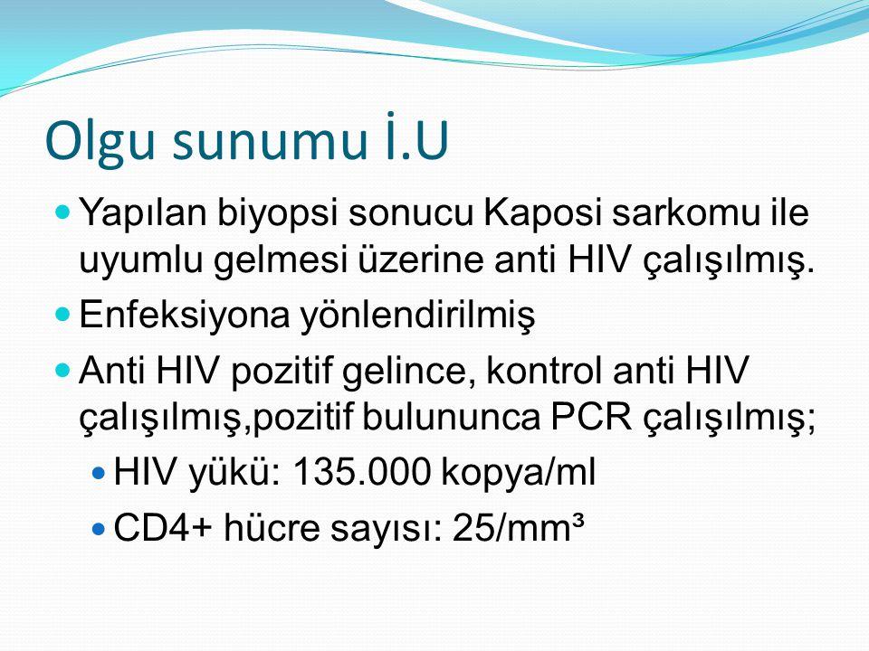 Olgu sunumu İ.U Yapılan biyopsi sonucu Kaposi sarkomu ile uyumlu gelmesi üzerine anti HIV çalışılmış.