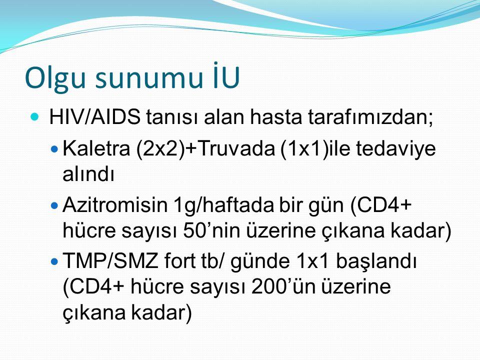 Olgu sunumu İU HIV/AIDS tanısı alan hasta tarafımızdan;