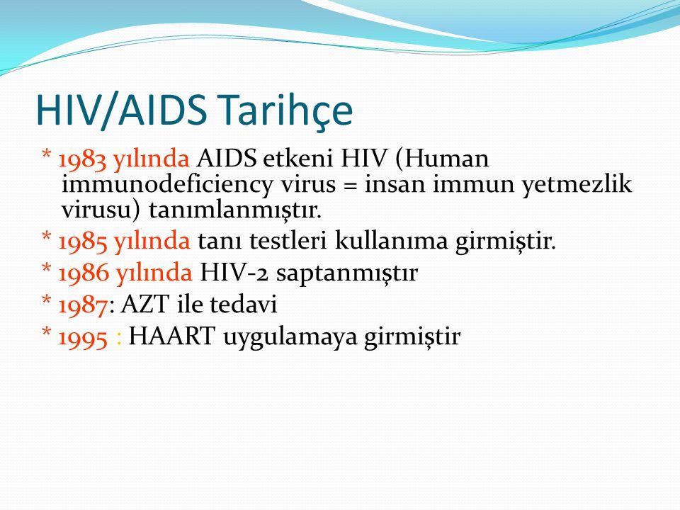 HIV/AIDS Tarihçe * 1983 yılında AIDS etkeni HIV (Human immunodeficiency virus = insan immun yetmezlik virusu) tanımlanmıştır.
