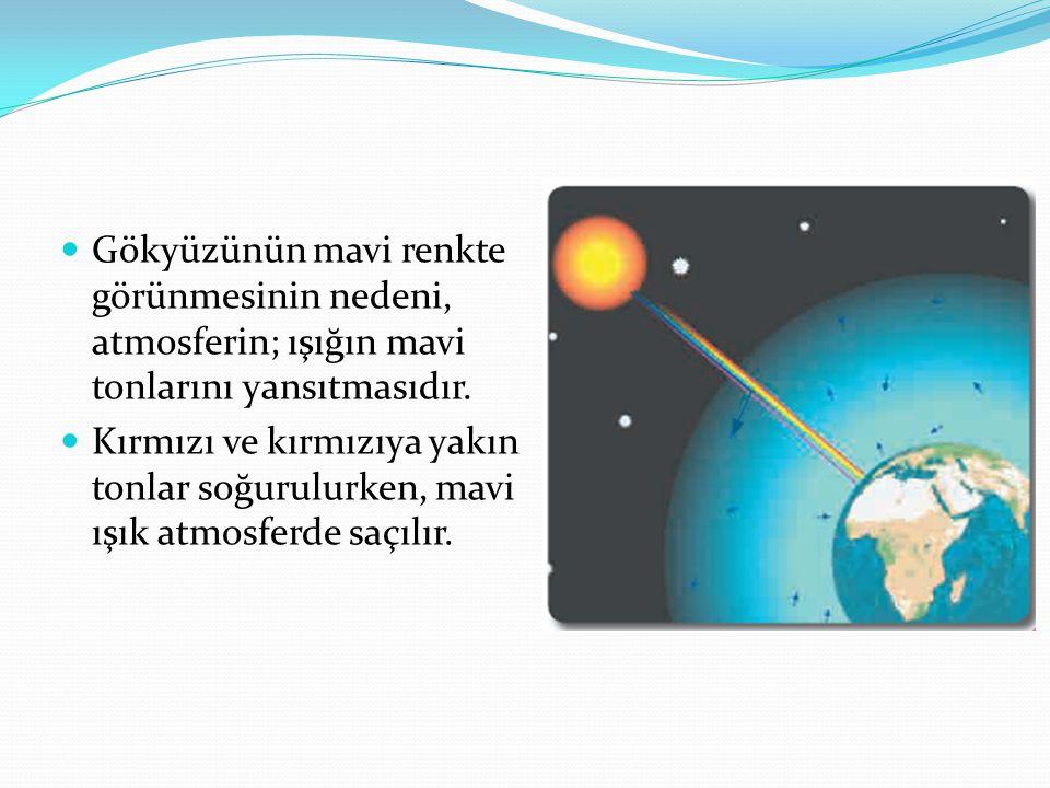 Gökyüzünün mavi renkte görünmesinin nedeni, atmosferin; ışığın mavi tonlarını yansıtmasıdır.