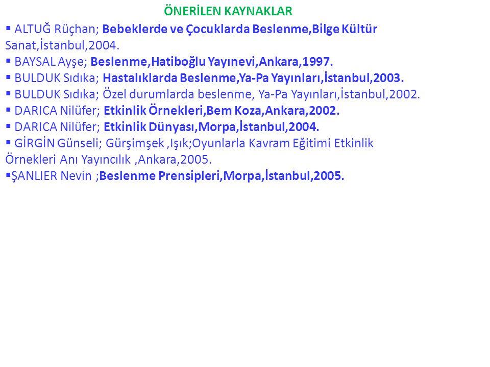 ÖNERİLEN KAYNAKLAR ALTUĞ Rüçhan; Bebeklerde ve Çocuklarda Beslenme,Bilge Kültür. Sanat,İstanbul,2004.