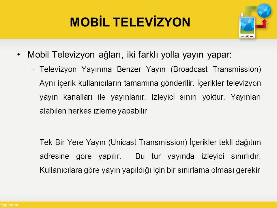 MOBİL TELEVİZYON Mobil Televizyon ağları, iki farklı yolla yayın yapar: