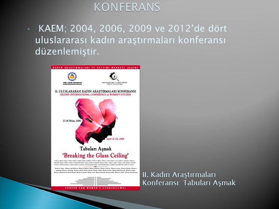 KONFERANS KAEM; 2004, 2006, 2009 ve 2012'de dört uluslararası kadın araştırmaları konferansı düzenlemiştir.
