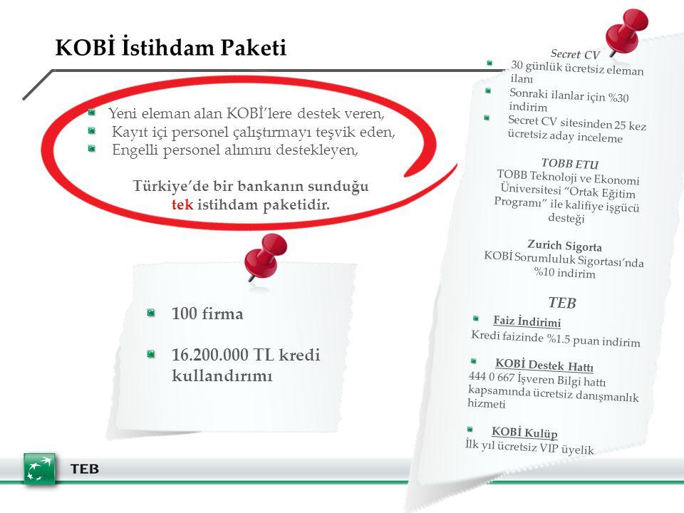 Türkiye'de bir bankanın sunduğu tek istihdam paketidir.