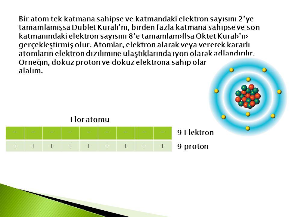 Bir atom tek katmana sahipse ve katmandaki elektron sayısını 2'ye tamamlamışsa Dublet Kuralı'nı, birden fazla katmana sahipse ve son katmanındaki elektron sayısını 8'e tamamlam›flsa Oktet Kural›'n› gerçekleştirmiş olur. Atomlar, elektron alarak veya vererek kararlı atomların elektron dizilimine ulaştıklarında iyon olarak adlandırılır. Örneğin, dokuz proton ve dokuz elektrona sahip olan flor atomunu ele alalım.