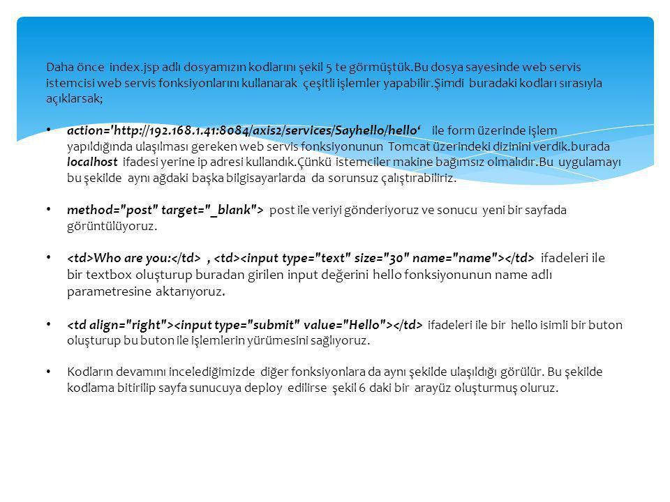 Daha önce index. jsp adlı dosyamızın kodlarını şekil 5 te görmüştük