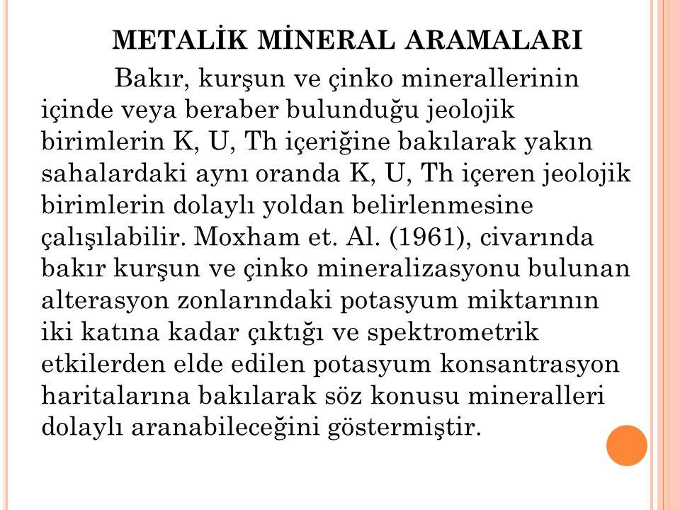 METALİK MİNERAL ARAMALARI Bakır, kurşun ve çinko minerallerinin içinde veya beraber bulunduğu jeolojik birimlerin K, U, Th içeriğine bakılarak yakın sahalardaki aynı oranda K, U, Th içeren jeolojik birimlerin dolaylı yoldan belirlenmesine çalışılabilir.