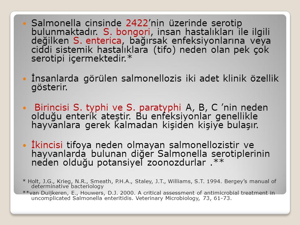 İnsanlarda görülen salmonellozis iki adet klinik özellik gösterir.