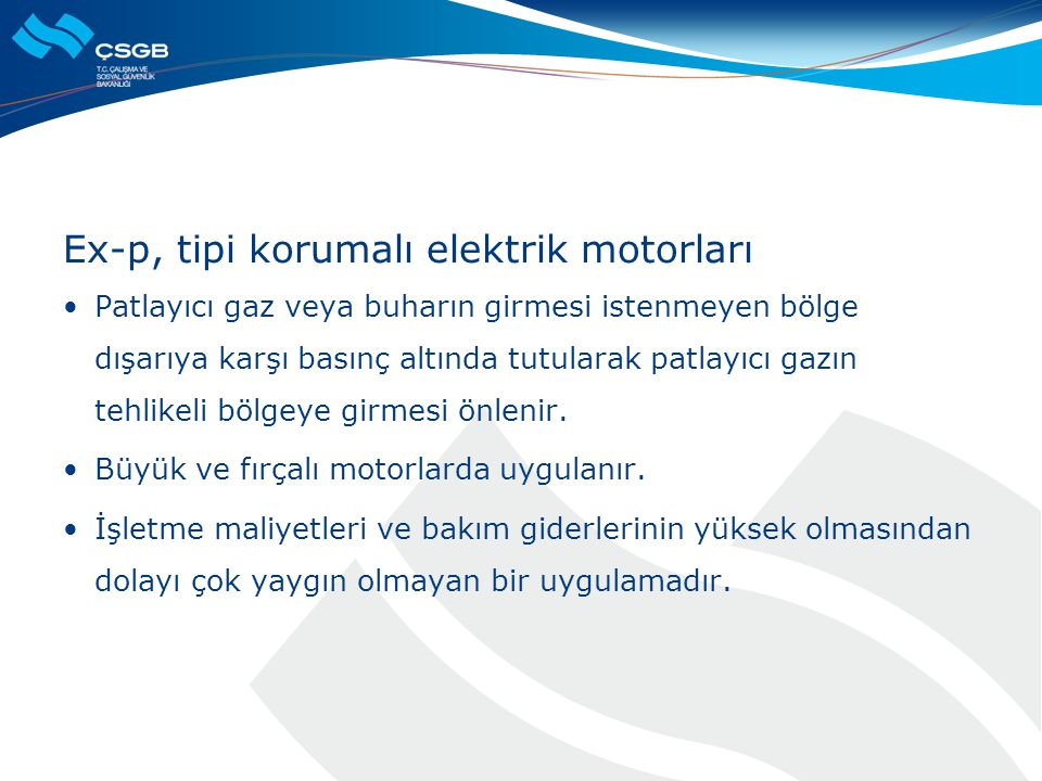 Ex-p, tipi korumalı elektrik motorları