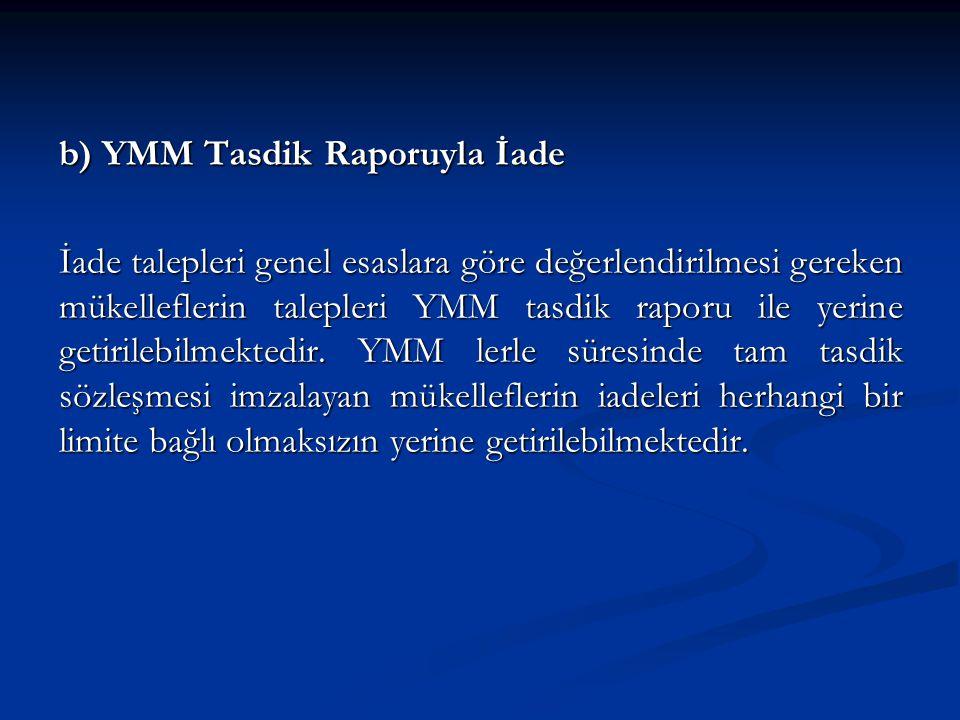b) YMM Tasdik Raporuyla İade İade talepleri genel esaslara göre değerlendirilmesi gereken mükelleflerin talepleri YMM tasdik raporu ile yerine getirilebilmektedir.