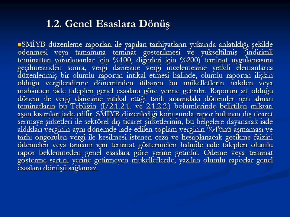 1.2. Genel Esaslara Dönüş