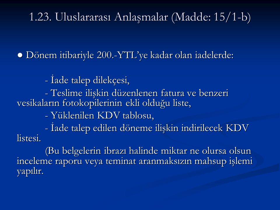 1.23. Uluslararası Anlaşmalar (Madde: 15/1-b)