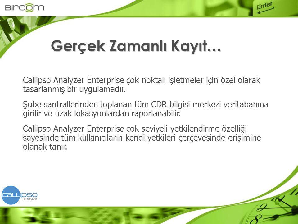 Gerçek Zamanlı Kayıt… Callipso Analyzer Enterprise çok noktalı işletmeler için özel olarak tasarlanmış bir uygulamadır.