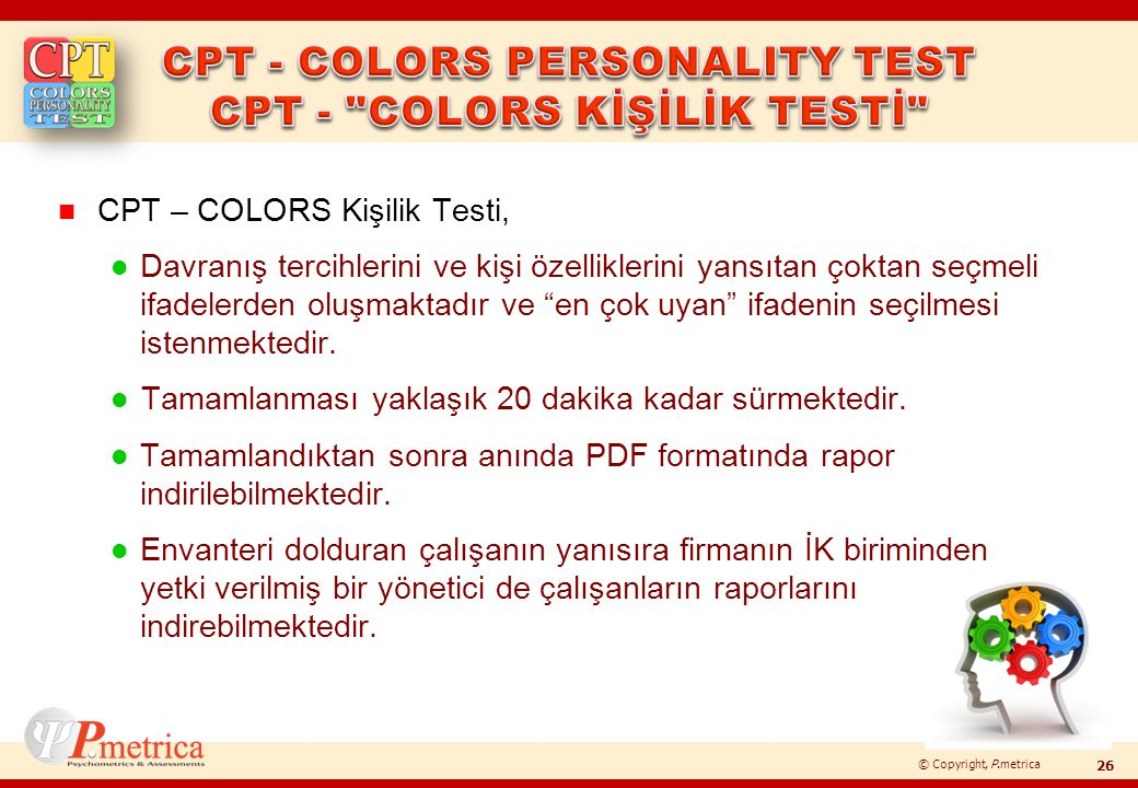 CPT - COLORS PERSONALITY TEST CPT - COLORS KİŞİLİK TESTİ