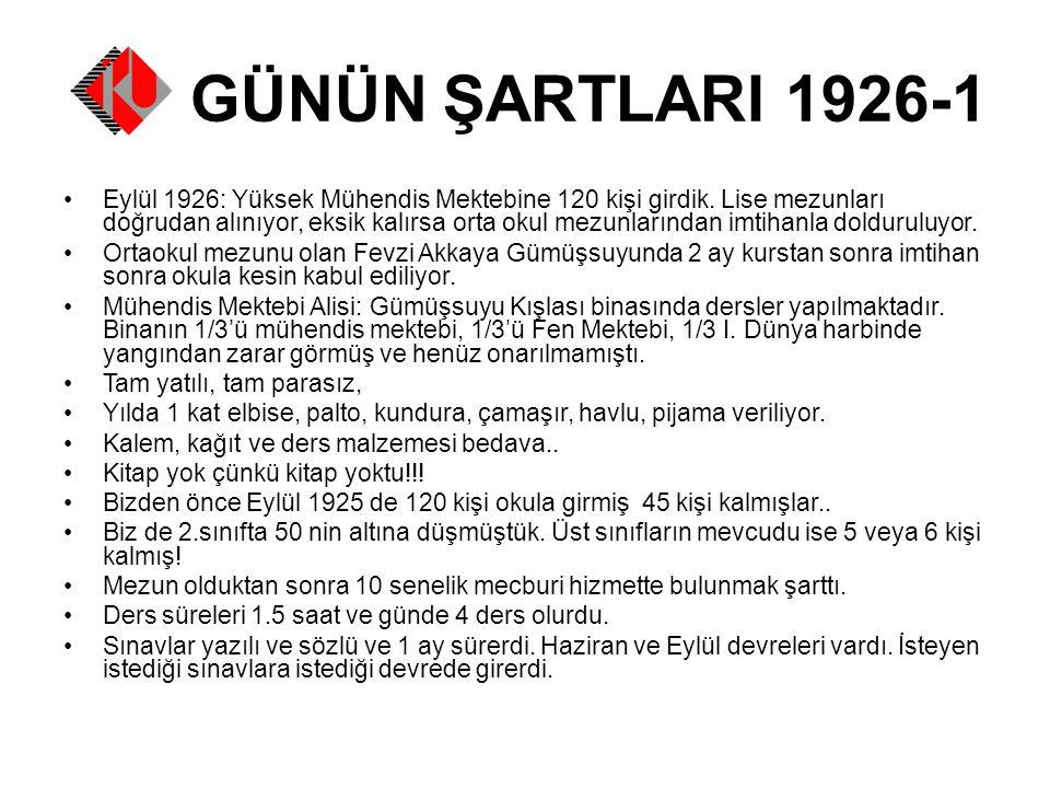 GÜNÜN ŞARTLARI 1926-1