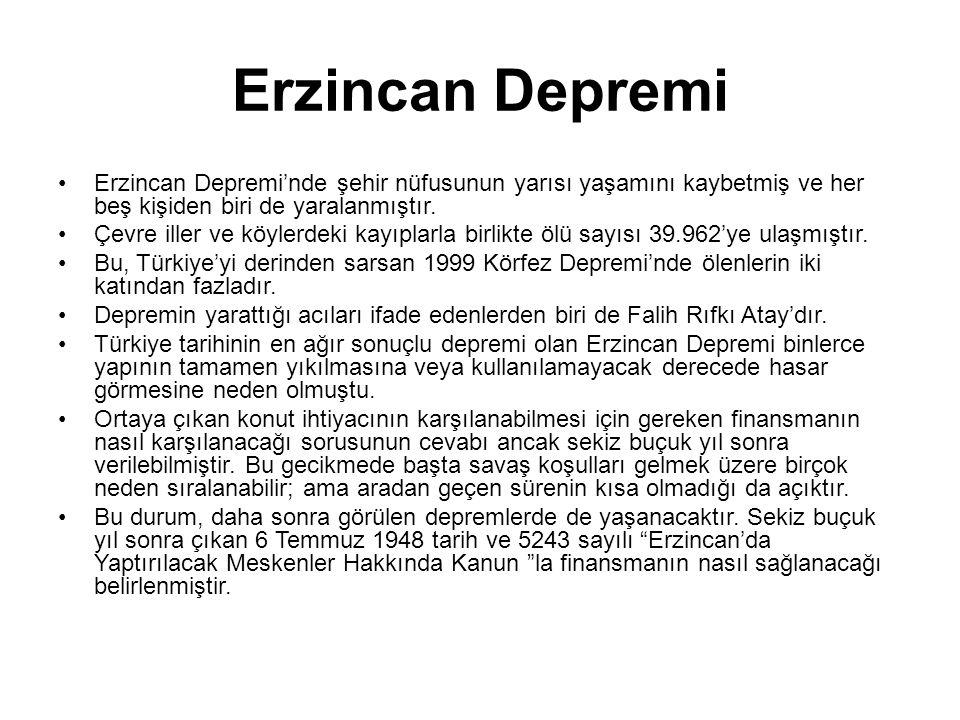 Erzincan Depremi Erzincan Depremi'nde şehir nüfusunun yarısı yaşamını kaybetmiş ve her beş kişiden biri de yaralanmıştır.