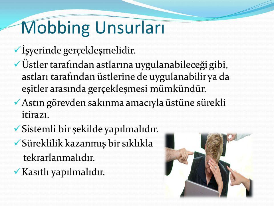 Mobbing Unsurları İşyerinde gerçekleşmelidir.