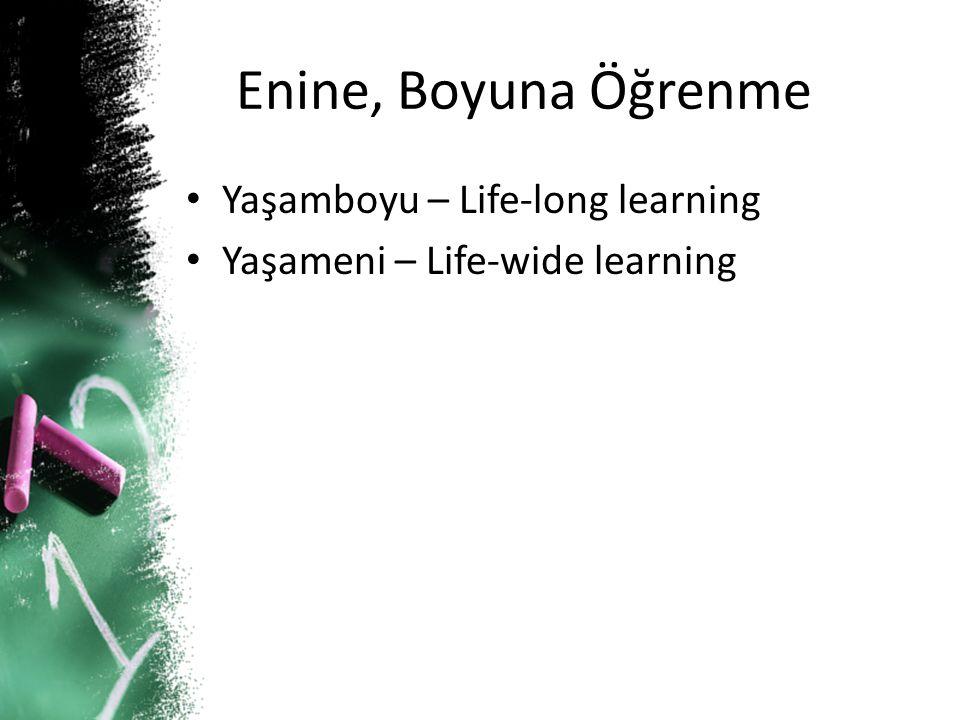Enine, Boyuna Öğrenme Yaşamboyu – Life-long learning