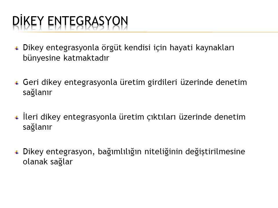DİKEY ENTEGRASYON Dikey entegrasyonla örgüt kendisi için hayati kaynakları bünyesine katmaktadır.