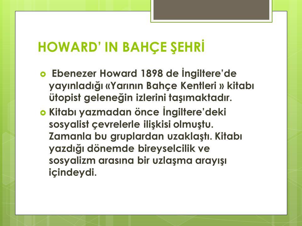 HOWARD' IN BAHÇE ŞEHRİ Ebenezer Howard 1898 de İngiltere'de yayınladığı «Yarının Bahçe Kentleri » kitabı ütopist geleneğin izlerini taşımaktadır.