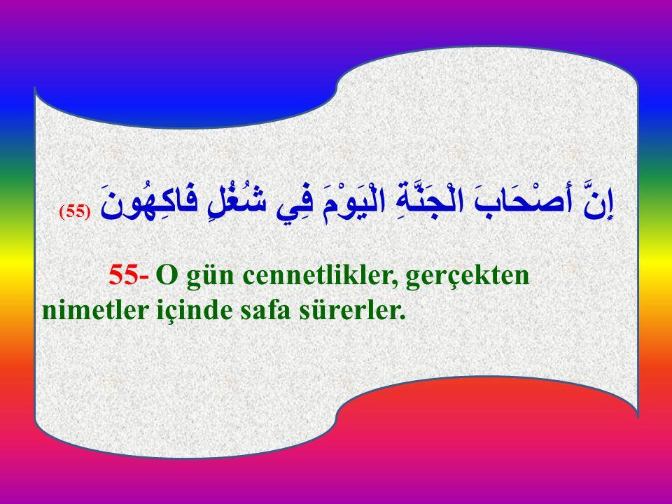 إِنَّ أَصْحَابَ الْجَنَّةِ الْيَوْمَ فِي شُغُلٍ فَاكِهُونَ (55)