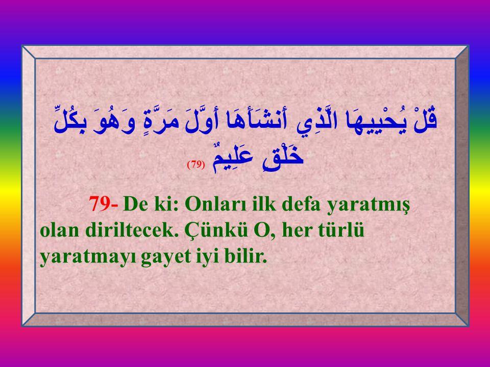 قُلْ يُحْيِيهَا الَّذِي أَنشَأَهَا أَوَّلَ مَرَّةٍ وَهُوَ بِكُلِّ خَلْقٍ عَلِيمٌ (79)