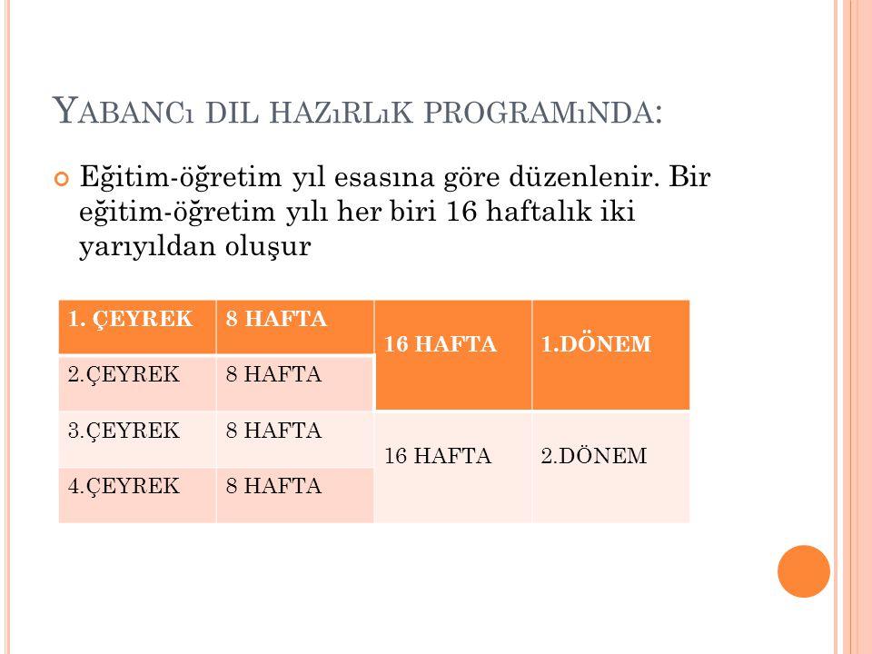 Yabancı dil hazırlık programında: