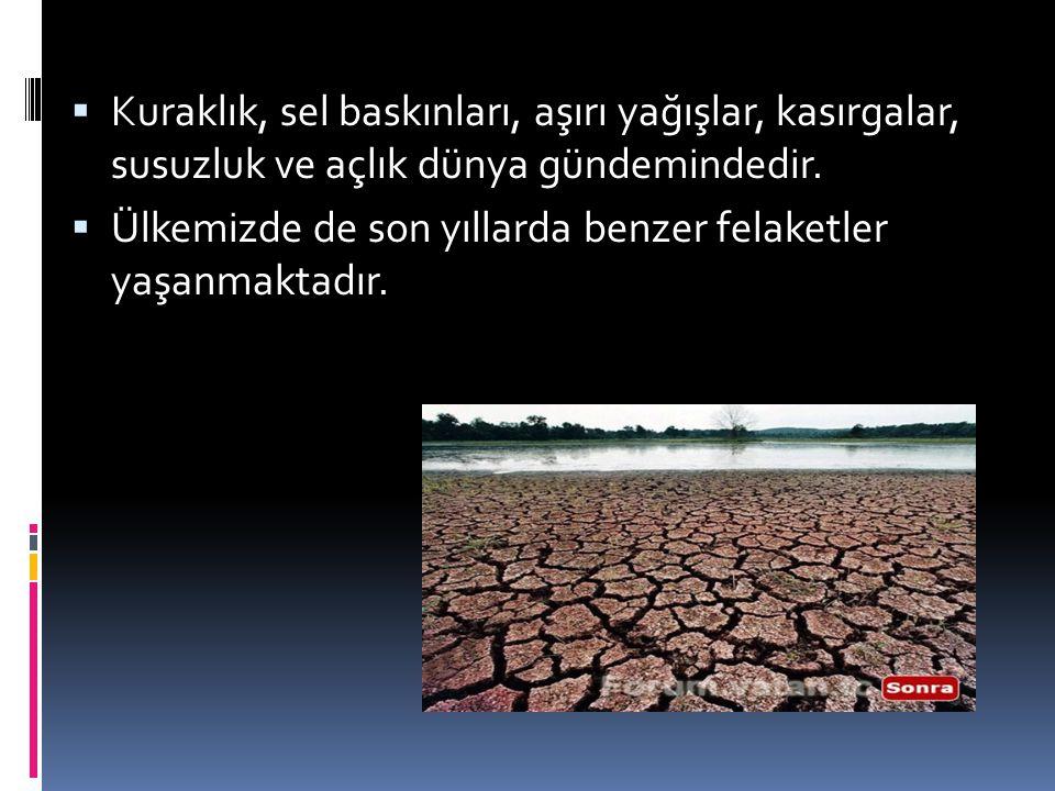 Kuraklık, sel baskınları, aşırı yağışlar, kasırgalar, susuzluk ve açlık dünya gündemindedir.