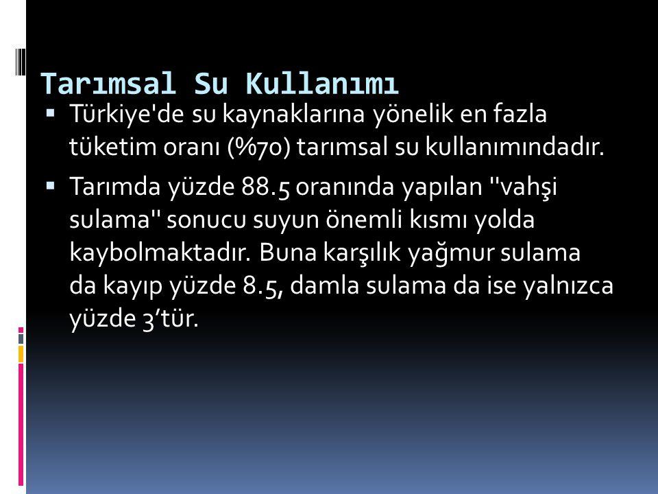 Tarımsal Su Kullanımı Türkiye de su kaynaklarına yönelik en fazla tüketim oranı (%70) tarımsal su kullanımındadır.