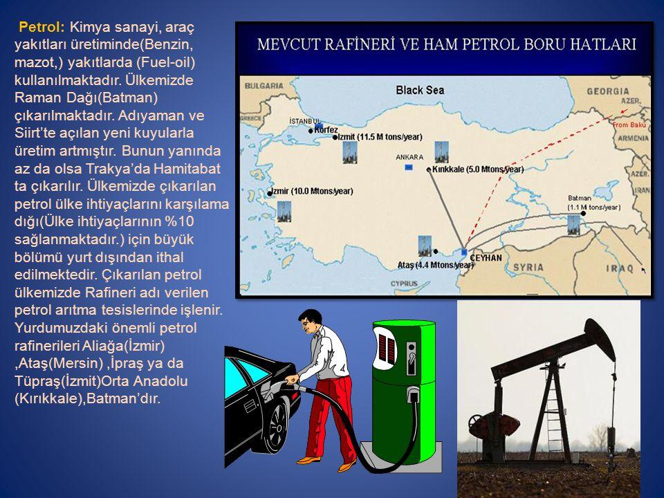 Petrol: Kimya sanayi, araç yakıtları üretiminde(Benzin, mazot,) yakıtlarda (Fuel-oil) kullanılmaktadır.