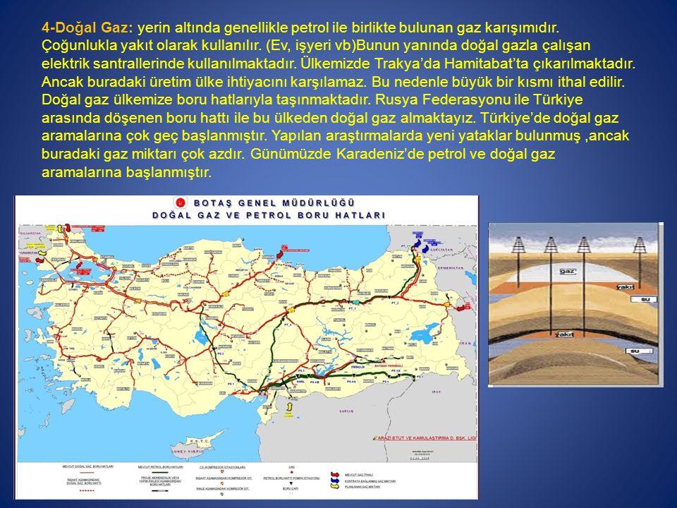 4-Doğal Gaz: yerin altında genellikle petrol ile birlikte bulunan gaz karışımıdır.