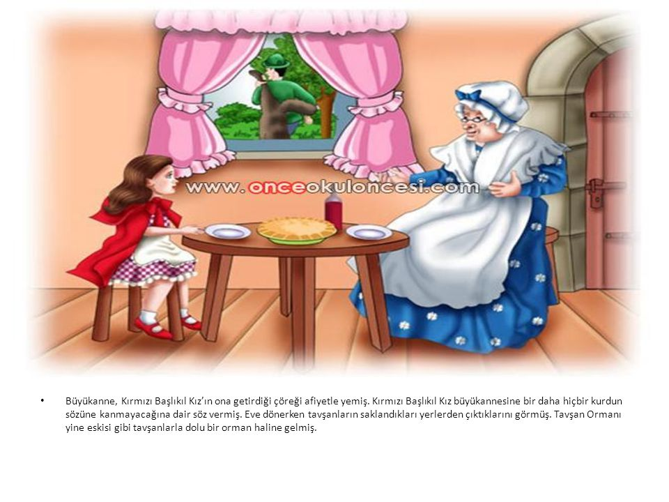 Büyükanne, Kırmızı Başlıkıl Kız'ın ona getirdiği çöreği afiyetle yemiş