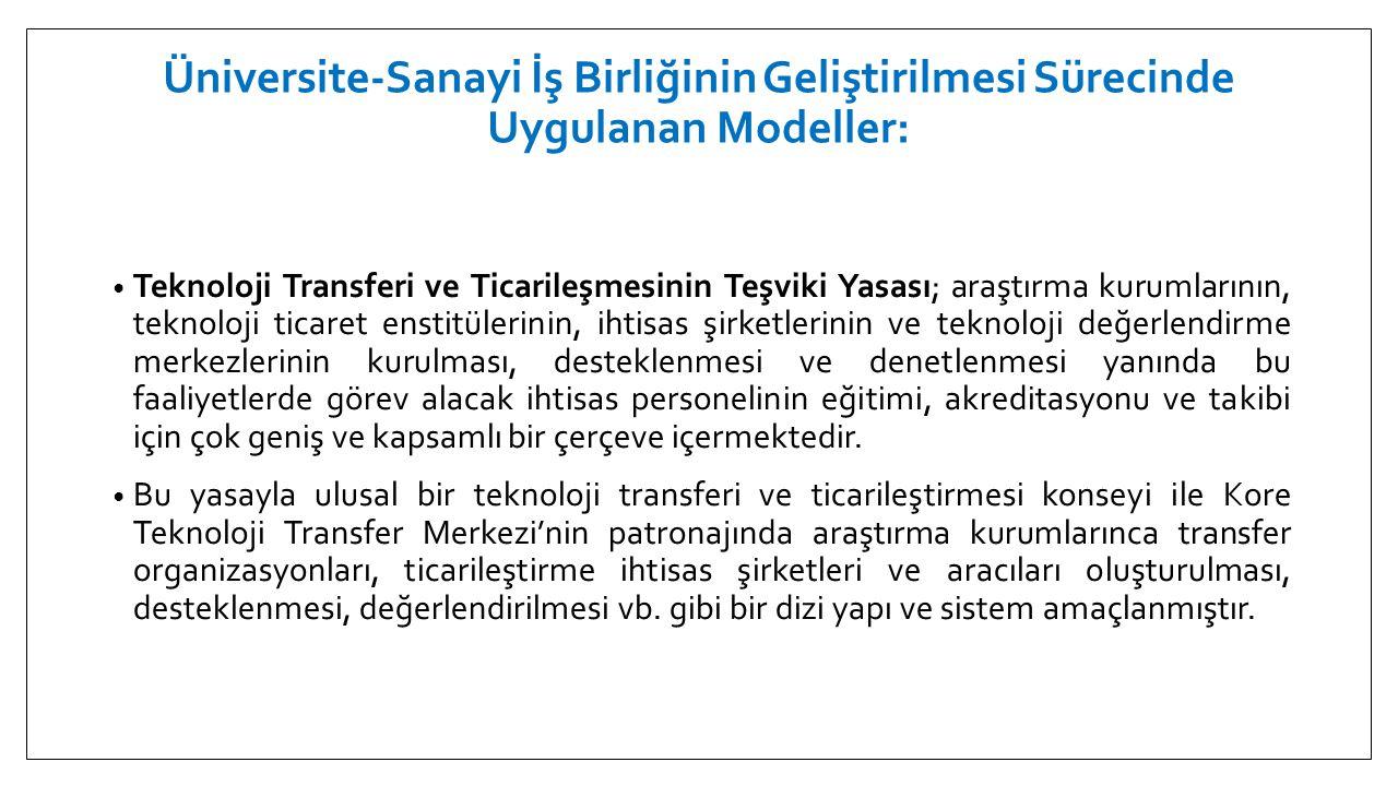 Üniversite-Sanayi İş Birliğinin Geliştirilmesi Sürecinde Uygulanan Modeller: