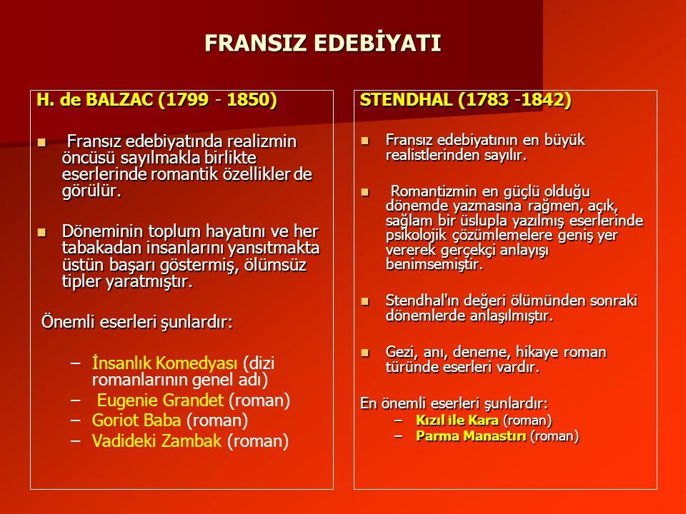 FRANSIZ EDEBİYATI H. de BALZAC (1799 - 1850)