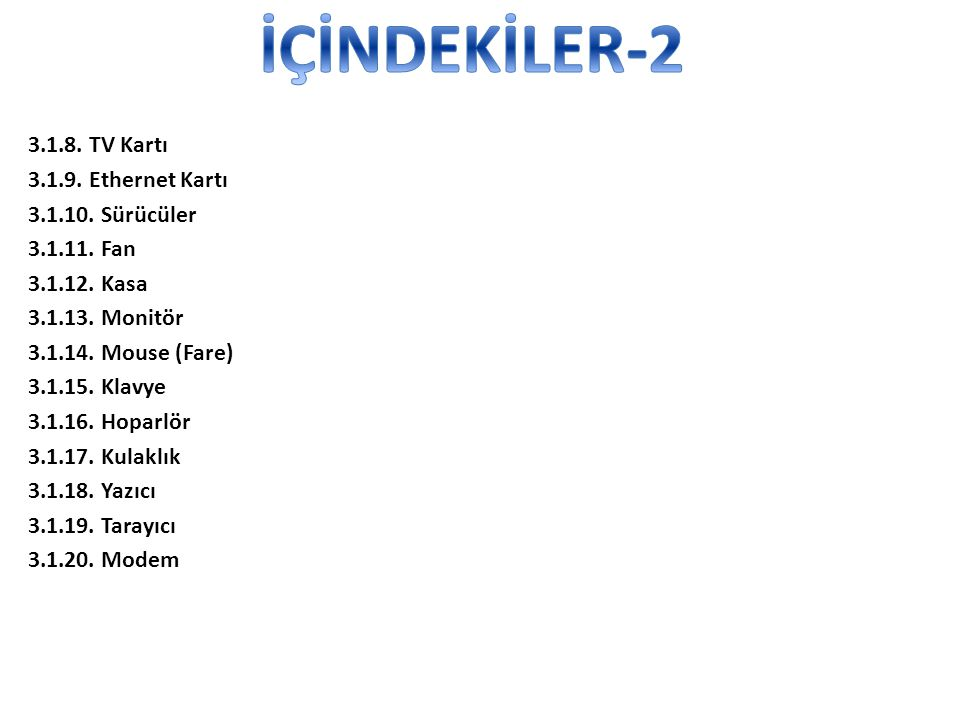 İÇİNDEKİLER-2