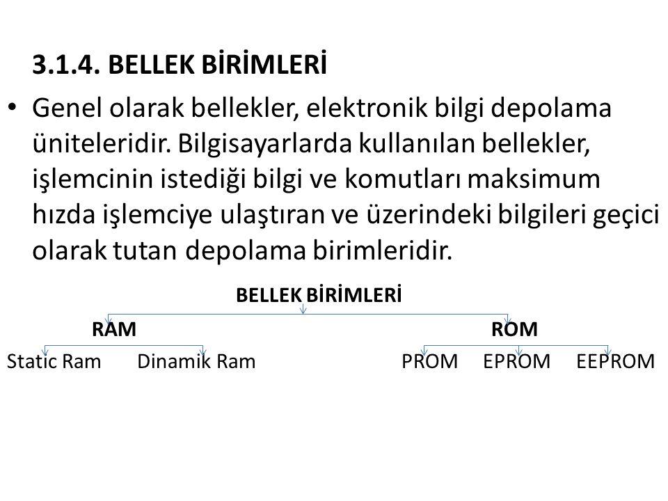 3.1.4. BELLEK BİRİMLERİ