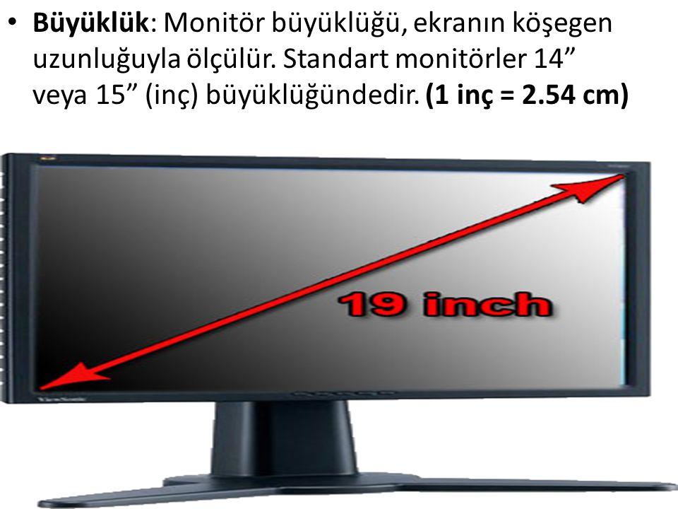 Büyüklük: Monitör büyüklüğü, ekranın köşegen uzunluğuyla ölçülür
