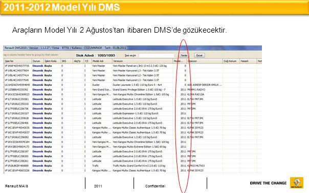 2011-2012 Model Yılı DMS Araçların Model Yılı 2 Ağustos'tan itibaren DMS'de gözükecektir.