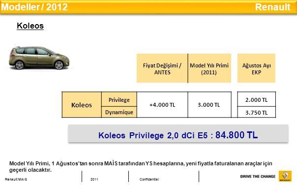 Koleos Privilege 2,0 dCi E5 : 84.800 TL