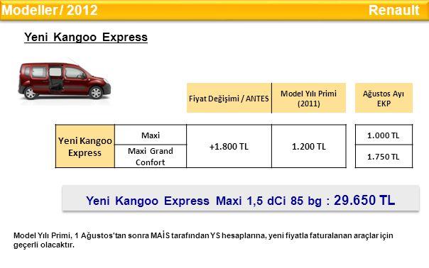 Yeni Kangoo Express Maxi 1,5 dCi 85 bg : 29.650 TL