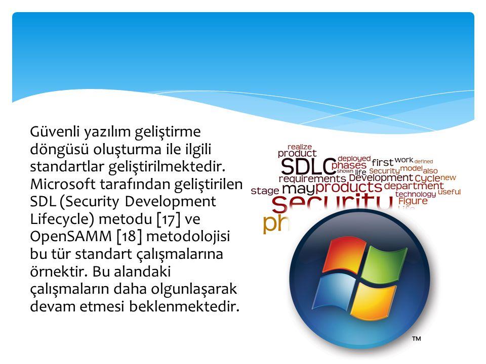 Güvenli yazılım geliştirme döngüsü oluşturma ile ilgili standartlar geliştirilmektedir.