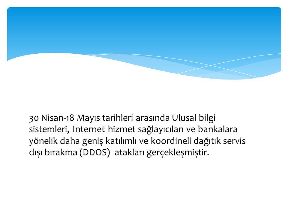 30 Nisan-18 Mayıs tarihleri arasında Ulusal bilgi sistemleri, Internet hizmet sağlayıcıları ve bankalara yönelik daha geniş katılımlı ve koordineli dağıtık servis dışı bırakma (DDOS) atakları gerçekleşmiştir.