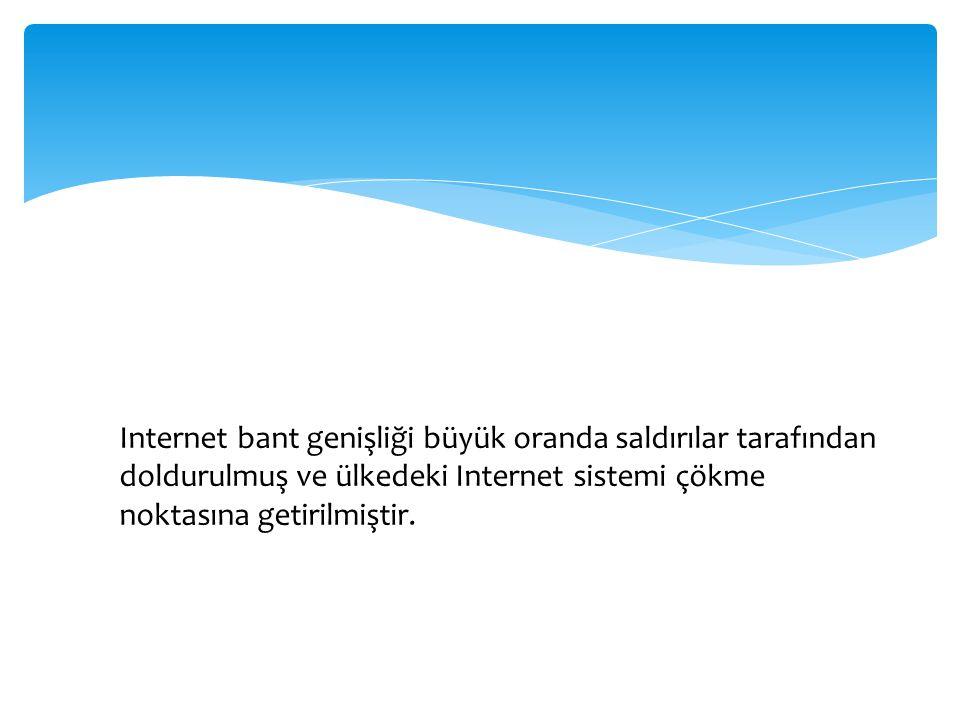 Internet bant genişliği büyük oranda saldırılar tarafından doldurulmuş ve ülkedeki Internet sistemi çökme noktasına getirilmiştir.