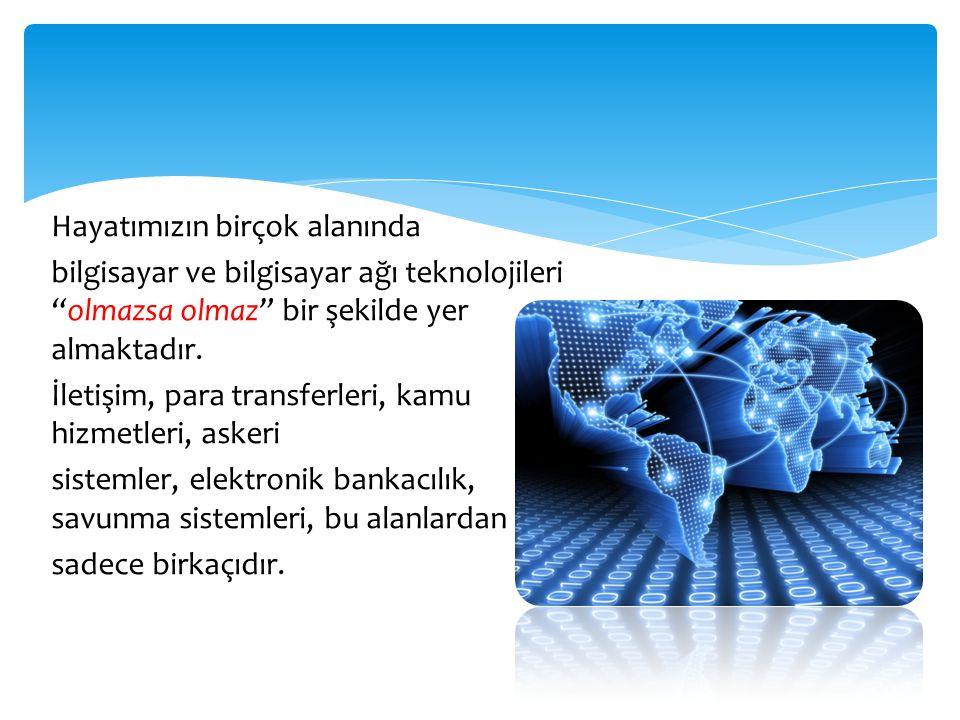 Hayatımızın birçok alanında bilgisayar ve bilgisayar ağı teknolojileri olmazsa olmaz bir şekilde yer almaktadır.