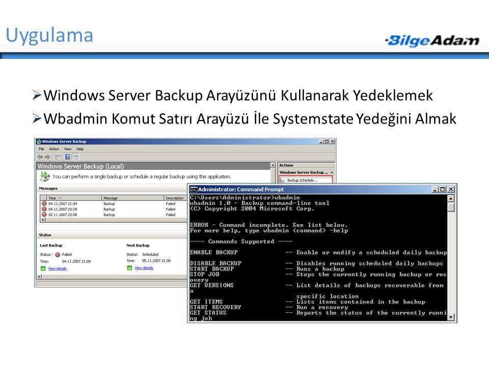 Uygulama Windows Server Backup Arayüzünü Kullanarak Yedeklemek