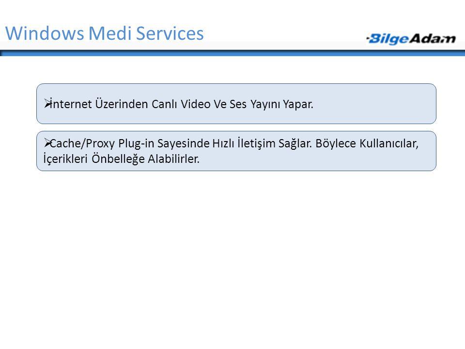 Windows Medi Services İnternet Üzerinden Canlı Video Ve Ses Yayını Yapar.